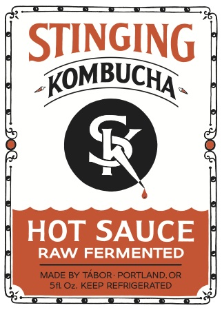 Stinging Kombucha Hot Sauce label
